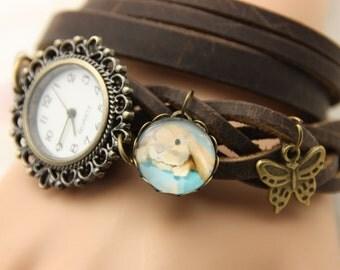 bracelet Brown leather rabbit ram