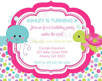 Under the Sea Girls Birthday theme Invitation & tag set- Personalized Printable File