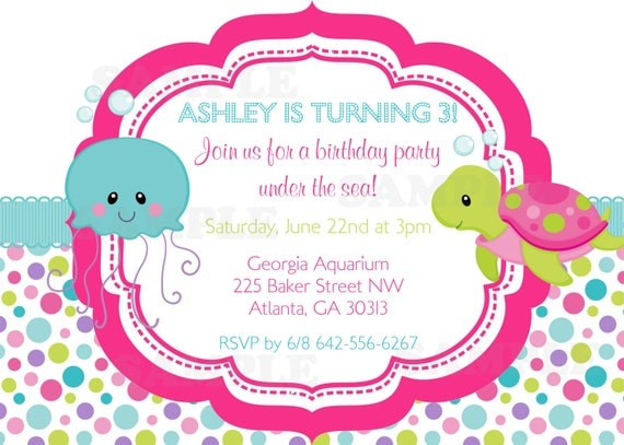 Under the Sea Girls Birthday theme Invitation & tag set- Personalized Printable File