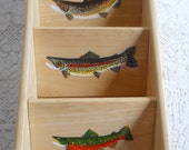 Hand Painted with Three Trout -  Three Shelf Organizer / Letter Holder