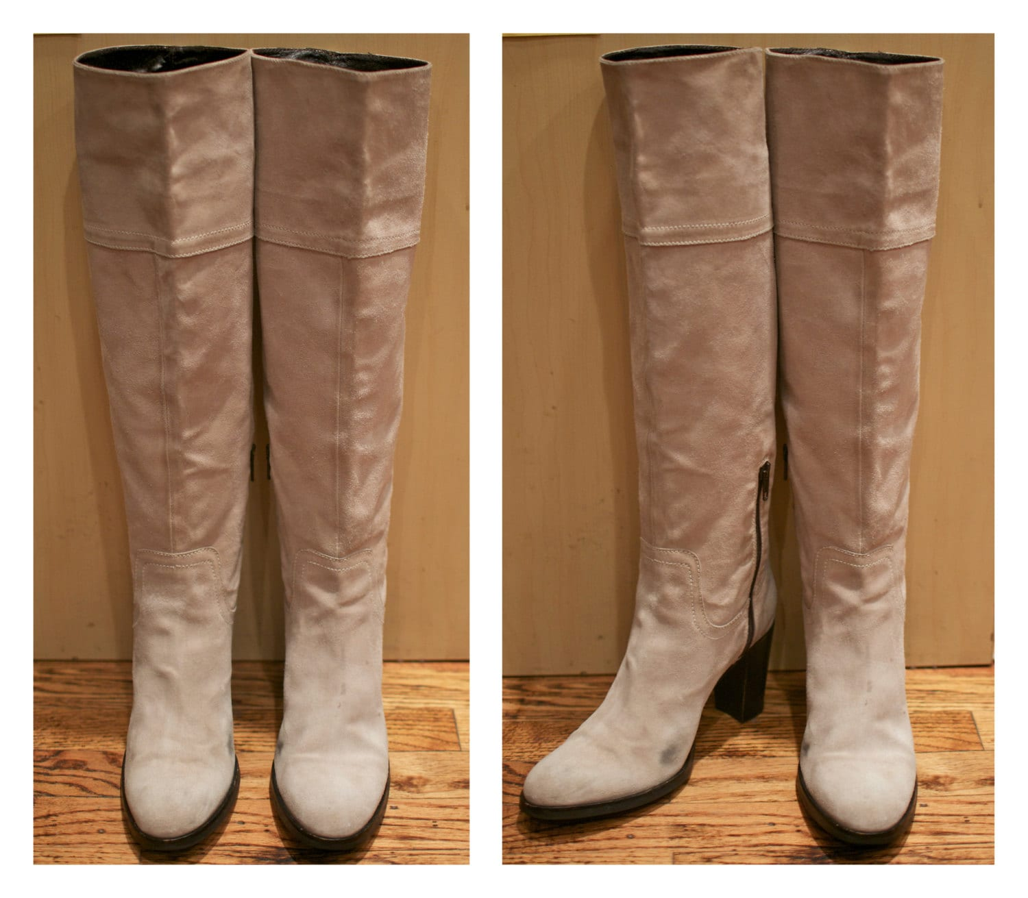 Size 9 Size 10 1990s Suede Boots Knee High Boot Tan Suede High