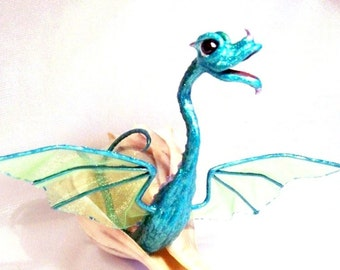 Green &Turquoise Sea Dragon in a Conch Shell Fantasy Art Doll