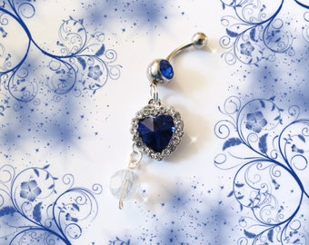 SALE- Belly Ring, Sapphire Ocean Blue Crystal Heart & Dangling Swarovski Crystal Belly Button Ring, Belly Jewelry For Women and Teens