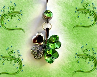 Belly Ring, Light Emerald Green Four Leaf Crystal Heart Clover, 18KGF Belly Button Jewelry, For Women and Teens, St. Patricks Day 1B132