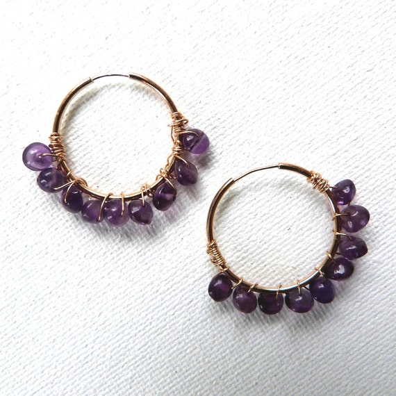 Purple Amethyst Gemstone Wrapped Hoops 14K Gold Filled Handmade