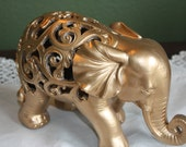 GOLD Ornate Elephant Figurine / Home Decor / Animal Decor