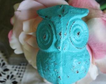 SEASIDE BLUE Cast Iron Owl Wall Hook