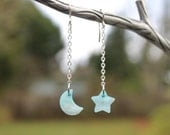 Sky blue Moon and Star dangle earrings