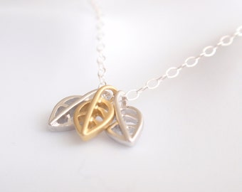 Three Leaves Sterling silver necklace-simple everyday jewelry