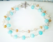 RESERVED FOR DAFNA Peruvian blue opal & pink opal bracelet with sterling silver starfish clasp, sterling silver jewelry