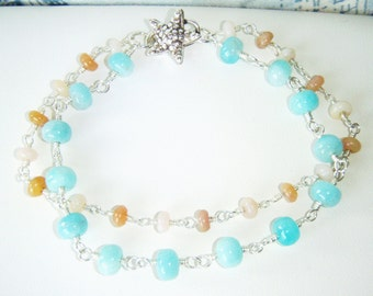 Peruvian blue opal & pink opal bracelet with sterling silver starfish clasp, sterling silver jewelry