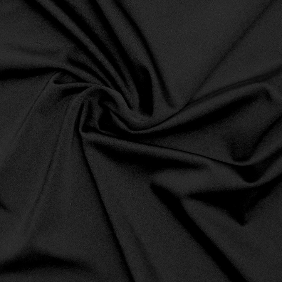 nylon lycra fabric spandex stretch material solid black