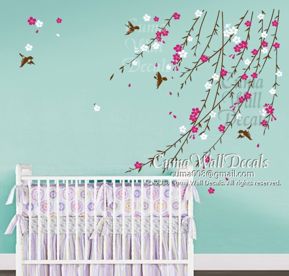 Baby girl flower wall decal nursery wall decal and birds pink cherry