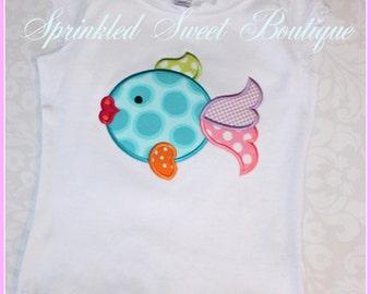 Fancy Fish Custom Applique Shirt - Can make matching Doll Shirt