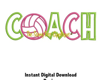 DD VOLLEYBALL COACH Applique - Machine Embroidery Design - 2 Sizes - Instant Download
