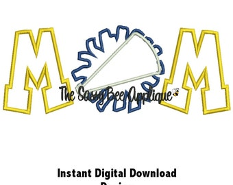DD CHEER MOM Applique - Machine Embroidery Design - 5 Sizes - Instant Download