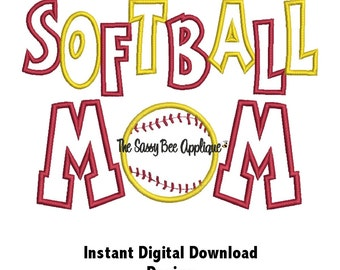 DD SOFTBALL MOM Two Line Applique - Machine Embroidery Design - 3 Sizes - Instant Download