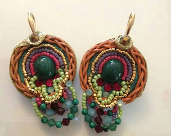 Green Stone Earrings. Bead Jewelry. Tribal Ethnic Jewelry. Colorful Jewelry