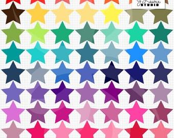 Digital Clipart-63 Colorful Stars-Bright Colors-Instant Download Clip Art
