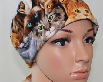 Women's Tie Back Surgical Scrub Hat,Chemo hat with band, Brown Kitty print