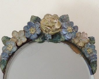 Barbola Mirror - Antique English Country Cottage Rose Dressing Table Mirror - Shabby Chic