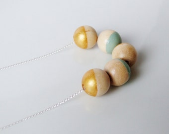Geometric Wood Sterling Silver Necklace