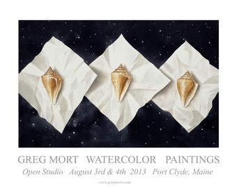 Greg Mort Watercolor Paintings 2013 Maine Open Studio Signed Poster.