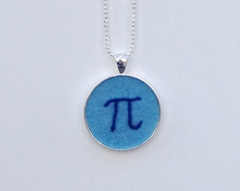 Pi Pendant - hand embroidered blue on light blue necklace