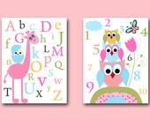 Baby Nursery Decor Childrens Art Kids Art Kids Wall Art Baby Girl Room Decor Baby Girl Nursery Prints set of 2 8x10 Print  Alphabet Numbers