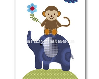 Art for Children Baby Nursery Decor Kids Wall Art Baby Boy Room Decor Baby Boy Art Prints Elephant Monkey Blue Navy Decoration Baby Art