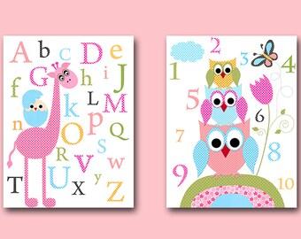 Baby Nursery Decor Childrens Art Kids Art Kids Wall Art Baby Girl Room Decor Baby Girl Nursery Prints set of 2 Print  Alphabet Numbers