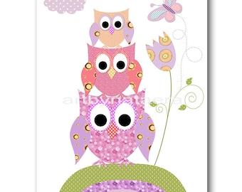 Baby Nursery Childrens Art Kids Art Kids Wall Art Baby Girl Nursery Baby Girl Room Decor Nursery Prints 8x10 Purple Pink Owls Decoration