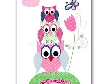Owl Decor Nursery Art Print Childrens Wall Art Baby Girl Nursery Art Kids Print Nursery Decor Girl Art Owls Decoration Rose Blue Green