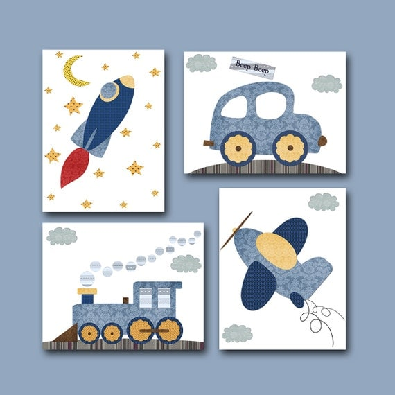 Baby Room Decor Nursery Decor Nursery Boy Kids Art By: Car Rocket Plane Train Baby Boy Nursery Decor Children Art