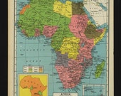 Vintage Map of Africa From 1944 Original