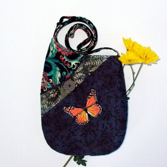 Small Shoulder Bag Quilted Fabric Purse with Embroidered Monarch Butterfly in Black, Teal and Orange