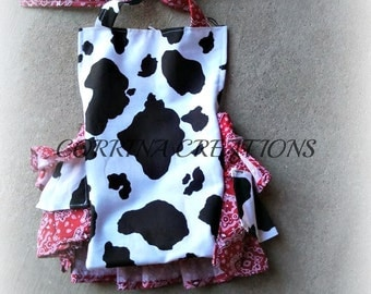 Country Western Style, cow print, bandana, sunsuit. Romper siz 3, 6, 9, 12, 24 months, 2T, 3T, 4T