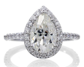 Custom White Gold Pear Shape Cut Diamond Halo Forever Brilliant Moissanite Engagement Wedding Anniversary Ring