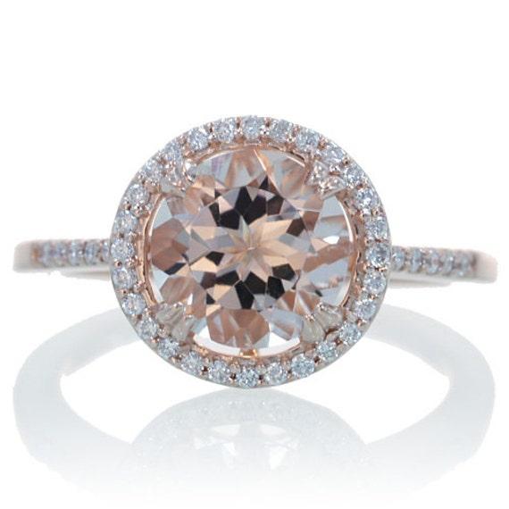 Rose Gold Round Morganite Engagement Ring Diamond Halo Solitaire Engagement  Wedding Bridal Gemstone Ring