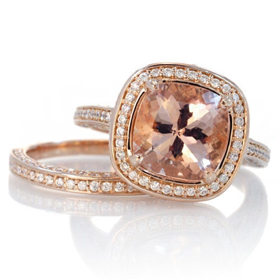 Rose Gold 9mm Cushion Cut Morganite Diamond Halo Pave by SAMnSUE