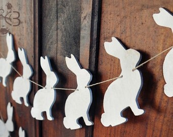 Distressed rabbit garland white wooden bunnies banner vintage finish spring Easter decor ornaments nursery