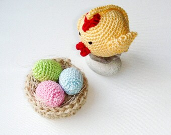 Nest with Eggs and Chick - Easter chicken - Decoration nest with eaggs  - Spring ornament - Waldorf Play Set