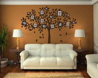 Family Tree Wall Decal Sticker Picture Frame Tree Branch Leaves Leaf Wall Art Home Decor Living Room