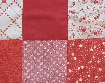 natural pure wool and cotton red baby quilt or lady's lap rug
