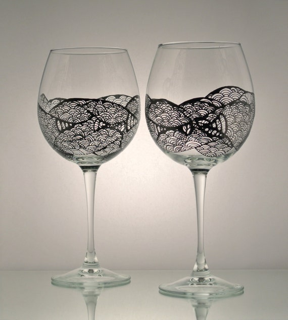 Items Similar To Set Of 2 Individually Hand Painted Wine