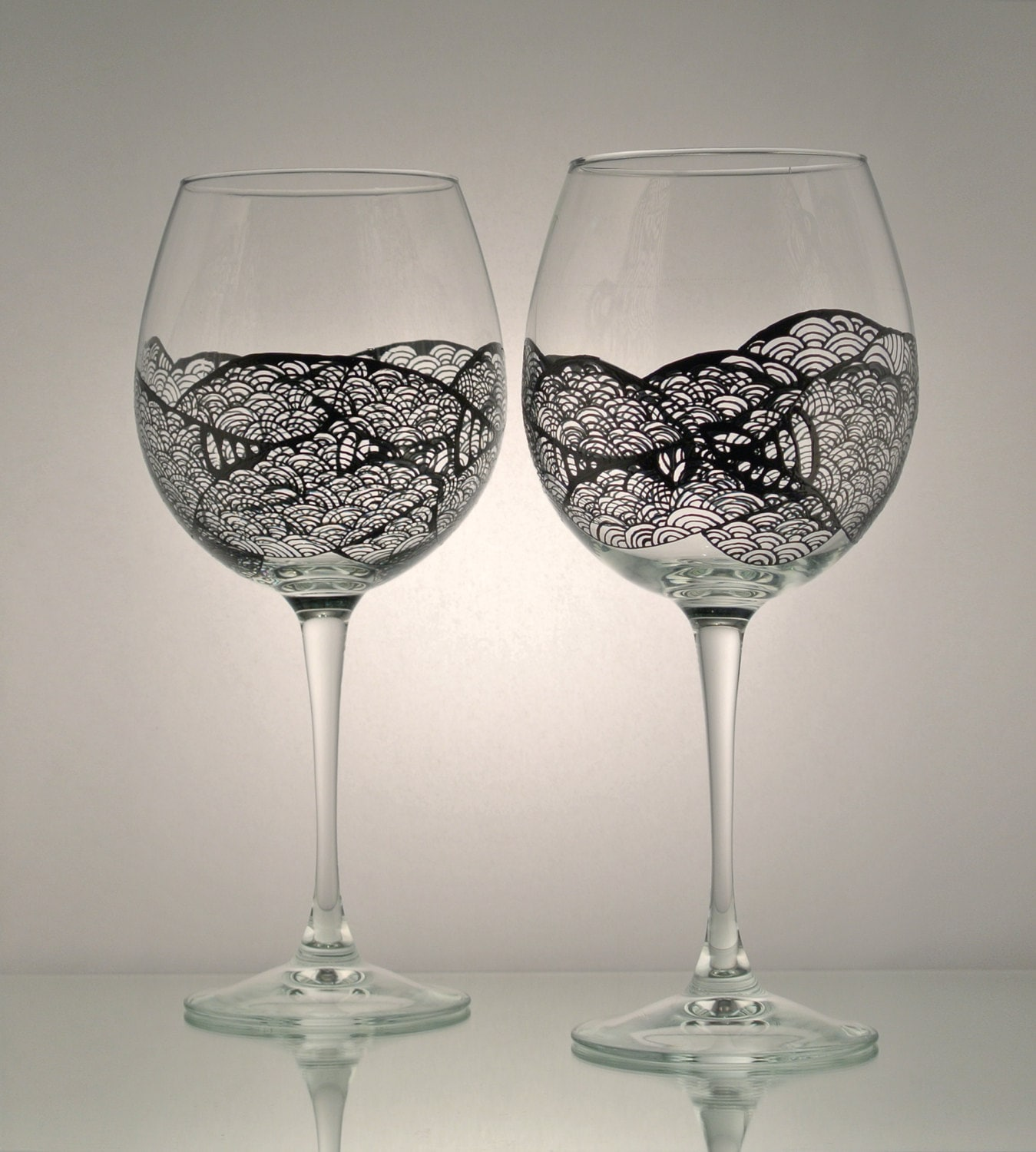 set of 2 individually hand painted wine glasses licorice
