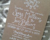 Wedding Invitation Kraft Paper & White Ink