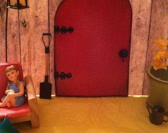 Red Fairy Door, Fairy Garden, Miniature Door, Garden Decor, Wood, Outdoor Fairy Door, Birthday, Gifts for her, Ready to ship.