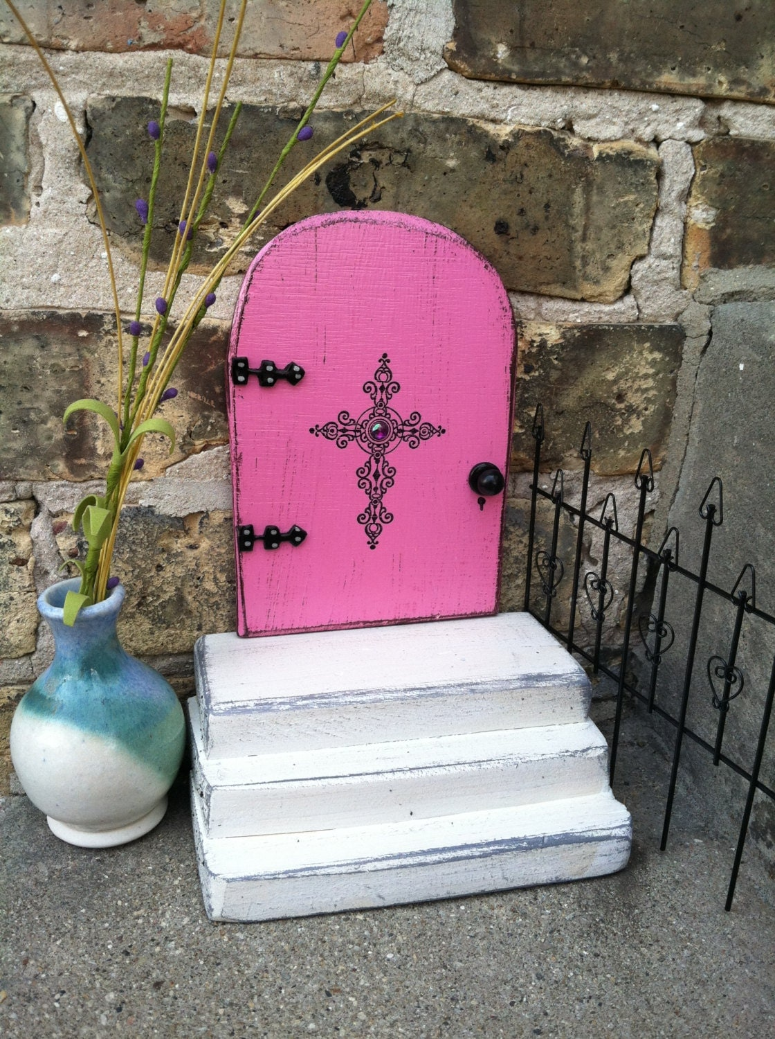Pink fairy door with a set of white stairs handmade cross for White fairy door