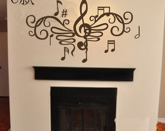 110x60cm Removable Music Note  Nature Vinyl Wall Paper Decal Art Sticker Q862-2